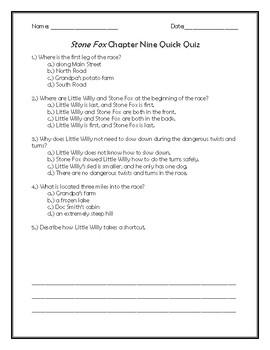 Stone Fox Chapter Nine Quick Quiz