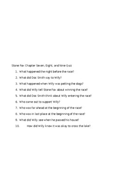 Stone Fox Chapter Quizzes