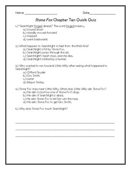 Stone Fox Chapter Ten Quick Quiz