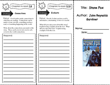 Stone Fox Chapters 1-10 Higher Order Thinking Questions Trifold