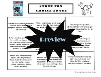 Stone Fox Choice Board Novel Study Activities Menu Book Project Rubric