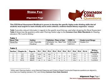 Stone Fox - CCQ Novel Study Assessment Workbook - Common Core Aligned
