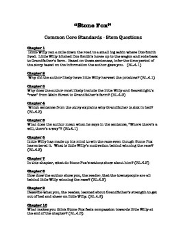 """Stone Fox"" - Common Core Standards STEM Questions"