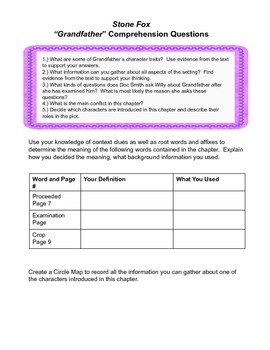 Stone Fox Common Core and Higher Order Thinking Questions
