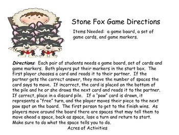 Stone Fox Comprehension Game