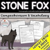 Stone Fox: Comprehension and Vocabulary by chapter Distance Learning