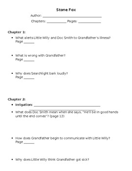 Stone Fox Guided Reading Student Work
