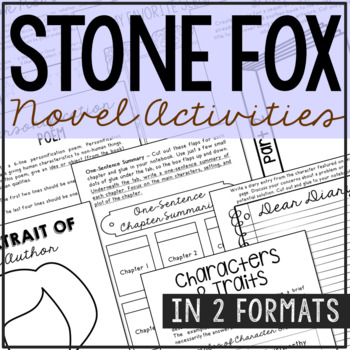 Stone Fox Interactive Notebook Novel Unit Study Activities, Book Report Project