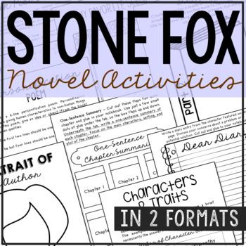 Stone Fox Interactive Notebook Novel Unit Study Activities, Book Report Project