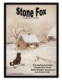 Stone Fox Prereading Activities, Vocabulary Study, Short Answer Questions