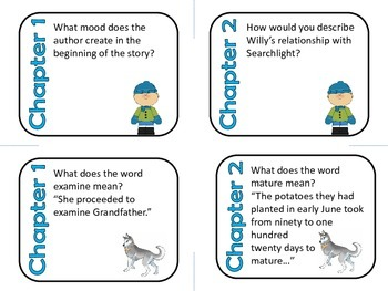 Stone Fox by John Gardiner Comprehension and Vocabulary Task Cards