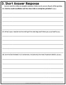 Stone Fox Test: Final Book Test with Answer Key