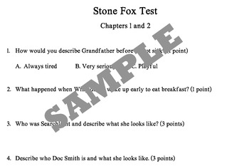Stone Fox Test chapters 1 and 2