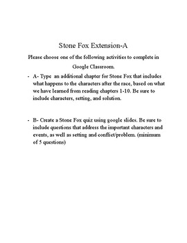 Stone Fox Tiered Extensions Activities for Final Chapter