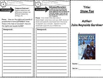 Stone Fox Trifold Higher Order Thinking Open Ended Questions