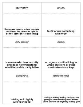 Stone Fox Vocabulary Bingo