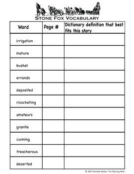 Stone Fox Vocabulary Packet