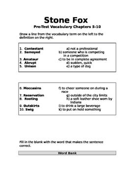 Stone Fox Vocabulary Test