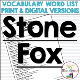 Stone Fox Vocabulary Word List