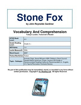 Stone Fox Vocabulary and Comprehension Pack