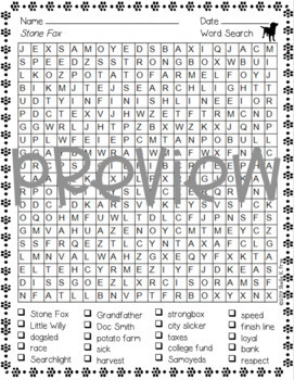 Word Search - Stone Fox - Fun Bell Ringer or Early Finisher Activity!