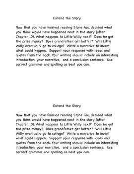 Stone Fox Writing Prompt