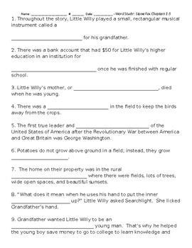 Stone Fox by John Reynolds Gardiner Word Study Spelling Test