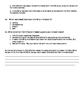 Stone Fox chapters 1-2 assessment PARCC like COMMON CORE STATE STANDARDS