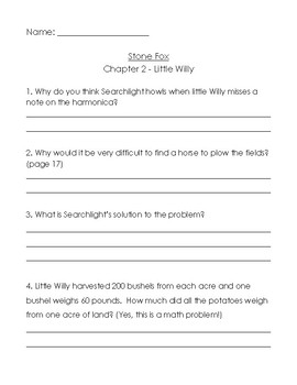 Stone Fox (chapters 1-4) comprehension questions