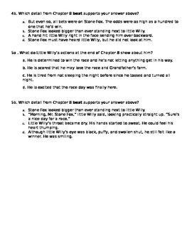 Stone Fox chapters 7-8 PARCC like Assessment Common Core State Standards