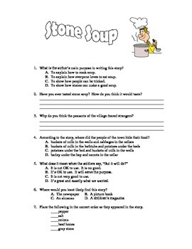 Stone Soup - Book Test & Bonus Book Report