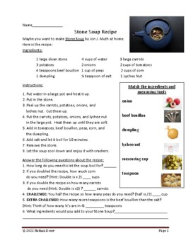 Stone Soup Math and Writing Extension