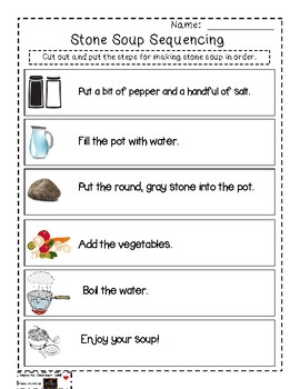 picture about Stone Soup Story Printable titled Stone Soup Sequencing Sport