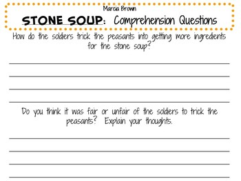 Stone Soup by Marcia Brown:    A Complete Literature Study!