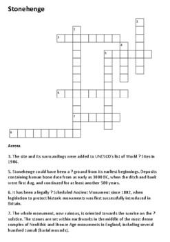 Stonehenge Crossword