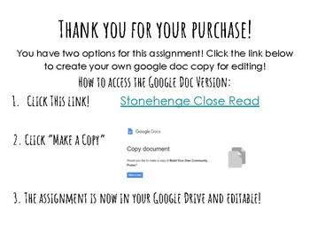 Stonehenge NewsELA Close Read! Google Doc!