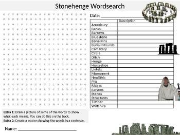 Stonehenge Wordsearch Sheet Starter Activity Keywords Religion Druids