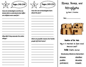 Stones, Bones, and Petroglyphs Trifold - Reading Street 6th Grade Unit 2 Week 3