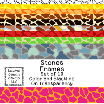 Stones Frames Clip Art PNG JPG Blackline Included Commercial or Personal
