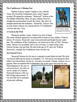 Stonewall Jackson Article and Questions written like the Reading SOL