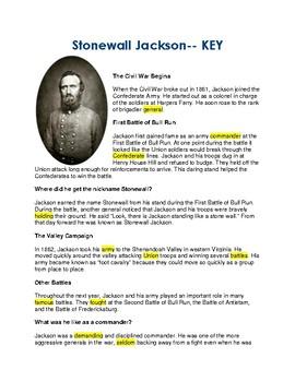 Stonewall Jackson - CLOZE Reading