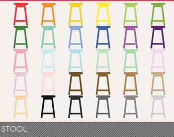Stool Digital Clipart, Stool Graphics, Stool PNG, Rainbow Stool Digital Files