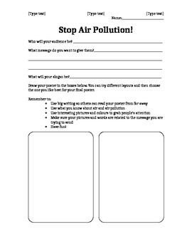 Stop Air Pollution! Poster plan and template