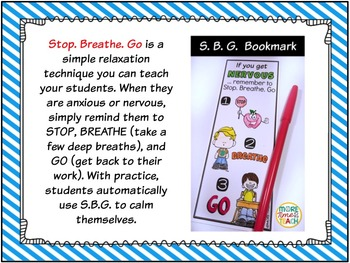 Stop. Breathe. Go {Bookmark-Test Anxiety Technique}