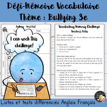 Vocabulary Word List Bullying