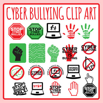 stop cyber bullying signs symbols icons clip art set for rh teacherspayteachers com Pictures About Cyberbullying cyberbullying clipart