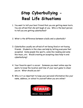Stop Cyberbullying-Real Life Situations for Class Discussions