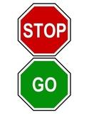 Red/Green Stop and Go Classroom Bathroom Door Hanger Sign Mini Visuals