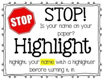 Stop & Hightlight Your Name