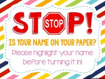 Stop! Homework Name Freebie!